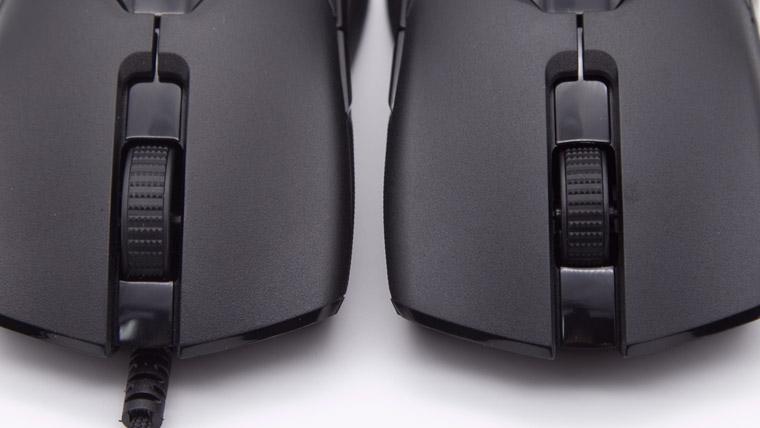 Viper シリーズのマウスホイールの長さの違い