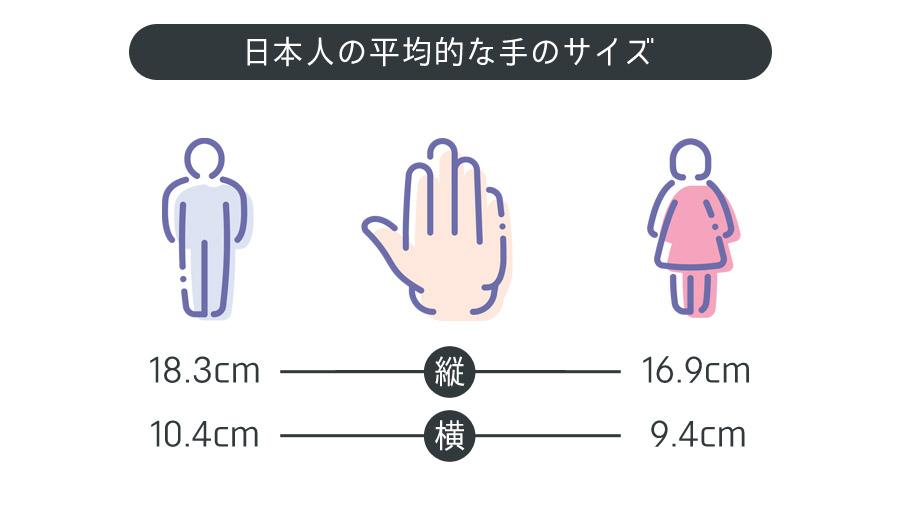 日本人の平均的な手のサイズ
